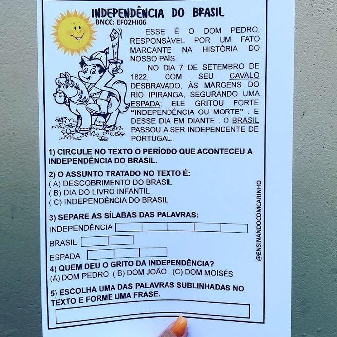 Atividade para o ciclo de alfabetização sobre a independência do Brasil