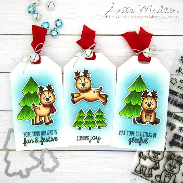 Sunny Studio Stamps: Gleeful Reindeer Customer Christmas Tags by Anita Madden