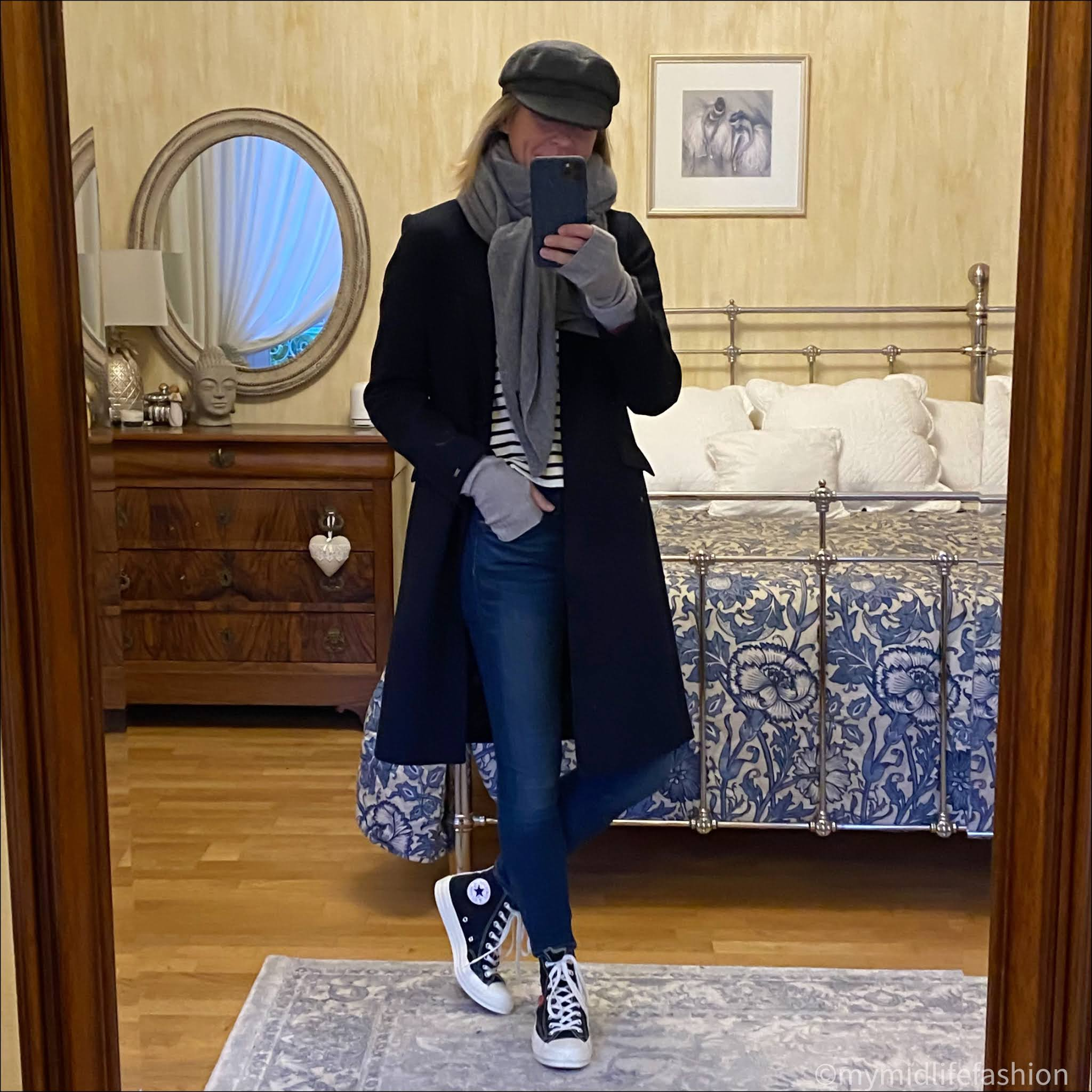 my midlife fashion, Isabel Marant baker boys cap, zara oversized cashmere scarf, Tommy Hilfiger tailored coat, zara puff sleeve stripe sweatshirt, j crew 8 inch toothpick skinny jeans, converse come des garçons hi top trainers