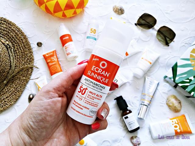 Ecran Sunnique Antimanchas Fluido Protector SPF50+ Protección Solar Facial antiaging antienvejecimiento sunprotect beauty salud belleza antiedad manchas