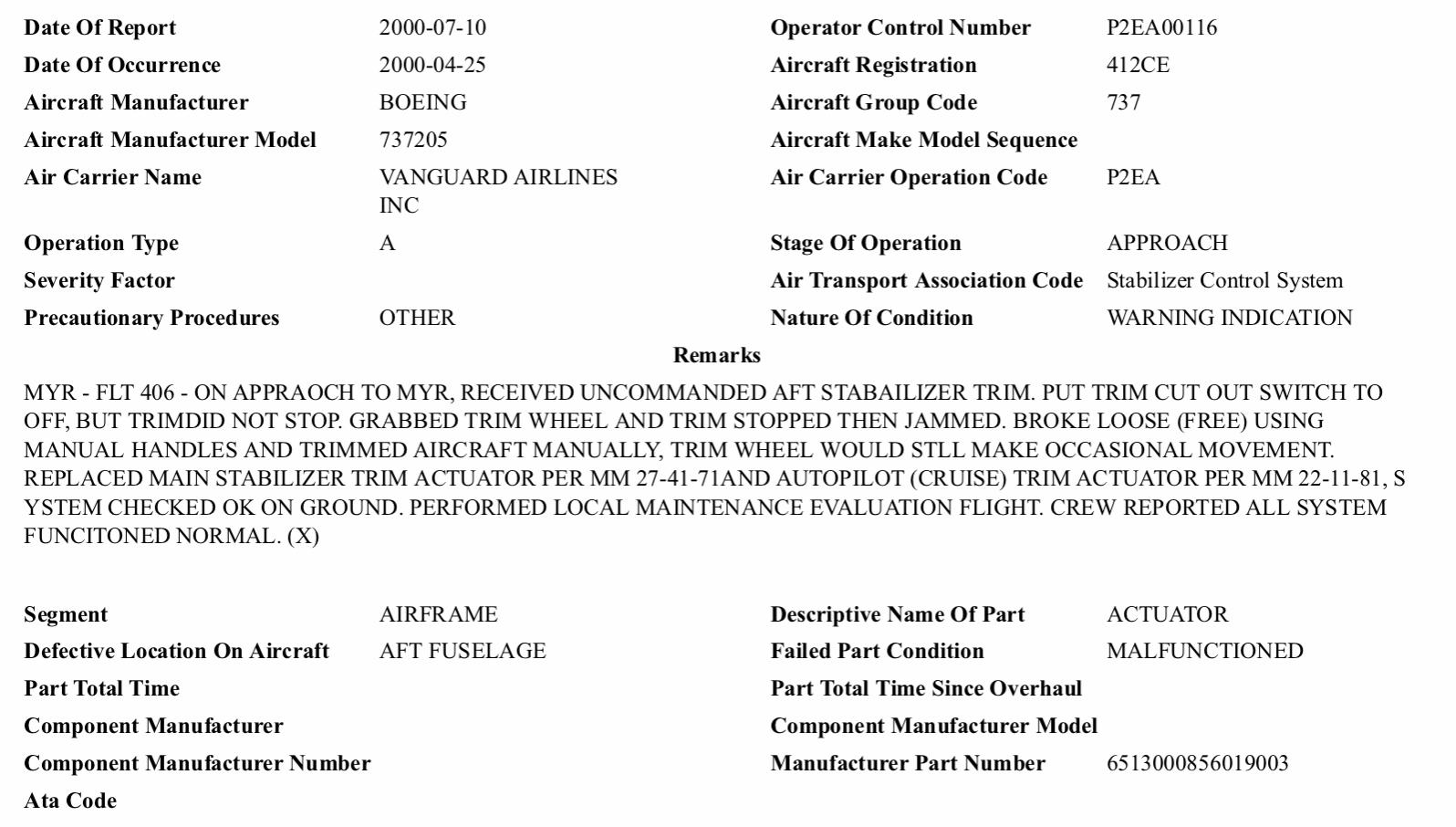 Satcom Guru: 737 Pitch Trim Incidents