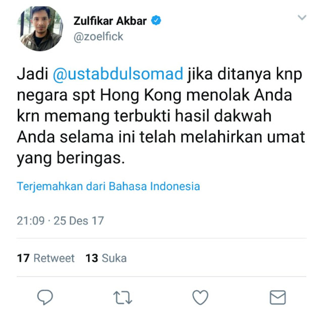 Sebut Ustadz Abdul Somad Lebih Dekat ke Setan, Zulfikar Akbar Dipecat Top Skor