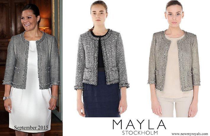 Crown Princess Victoria wore Mayla Stockholm gray tweed jacket