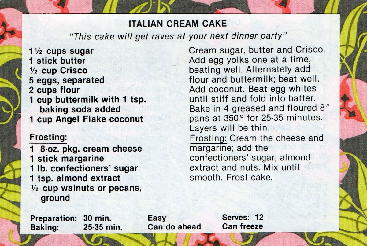 Italian Cream Cake (quick recipe)