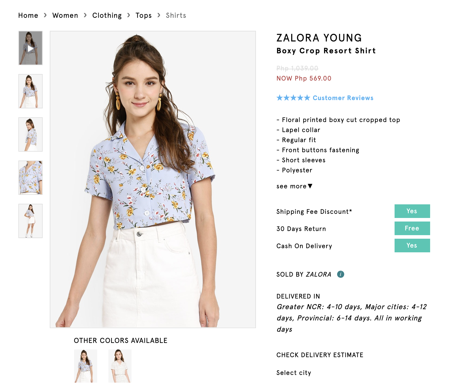 Screenshot of Zalora Young Boxy Crop Resort Shirt