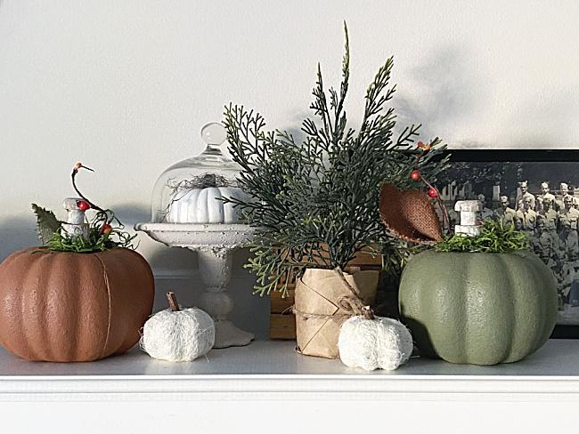 mantel with pumpkins