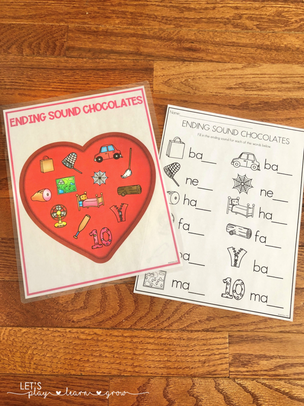 Valentines Day Ending Sounds Activity