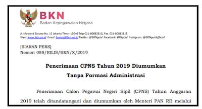 Penerimaan CPNS Tahun 2019 Diumumkan Tanpa Formasi Administrasi