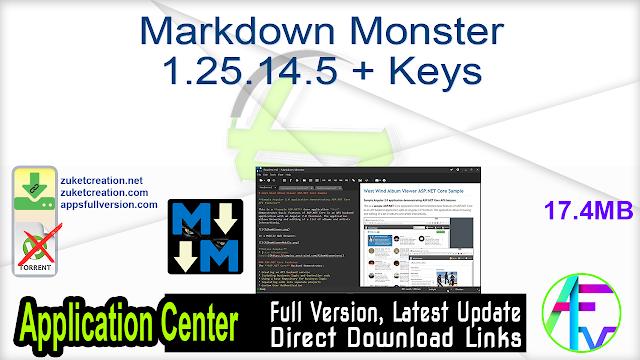Markdown Monster 1.25.14.5 + Keys