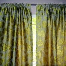 living room curtain green