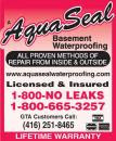 Aquaseal Wet Leaky Basement Solutions Specialists | Wet Basement Toronto 1-800-NO-LEAKS