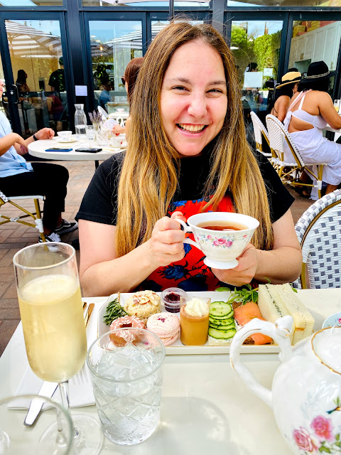Jamie Allison Sanders enjoying the afternoon tea service at Morning Lavender in Orange County.