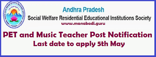 jobs, APSWREIS, Andhra Pradesh Social Welfare Residential Educational Institutions, AP Social Welfare Posts, PET, Music Teacher Post, APSWREI Society