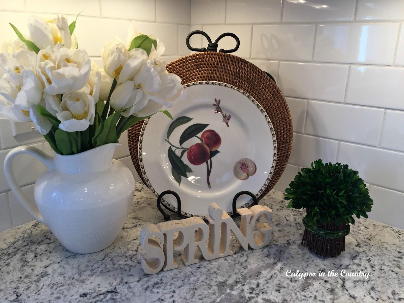 Spring vignette in kitchen