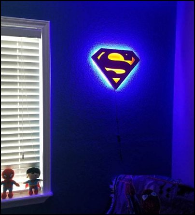 superman wall light  Justice league Superman Man of Steel Dual Color Illuminated LED Sign
