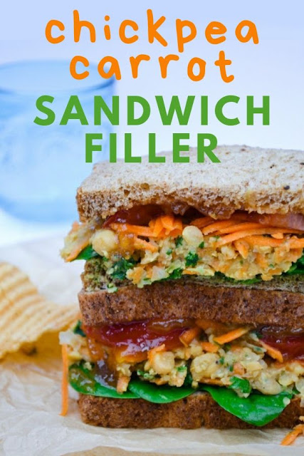 A spicy chickpea and carrot sandwich filler whizzed up in seconds for a really satisfying lunchtime sandwich. #sandwichfiller #chickpeasandwich #vegansandwich #vegansandwiches #veganlunch #veganlunchbox #sandwiches #vegetariansandwiches #vegetariansandwichfiller #chickpeapate #chickpeas #carrots