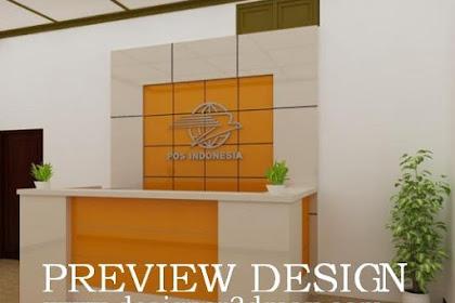 Design backdrop meja counter agen kantor pos