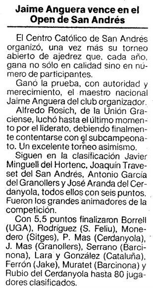 El Mundo Deportivo, XIV TORNEIG OBERT DE SANT ANDREU 1985