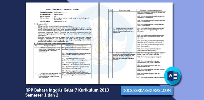 RPP Bahasa Inggris SMP MTs Kelas 7 Kurikulum 2013 Semester 1 dan 2 Revisi 2019-2020