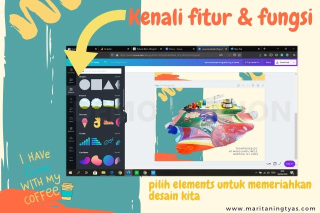 cara membuat infografis blog pilih elements canva grid, frame, dan sticker
