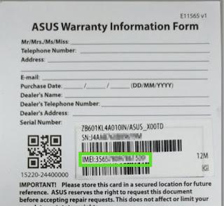 Memeriksa nomor IMEI Asus via kartu