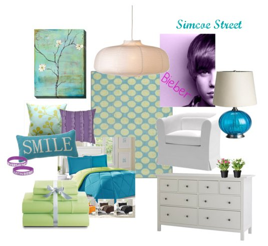 Simcoe Street: A Turquoise, Lime & Bieber Tween Room - Purple And Turquoise Bedroom Ideas