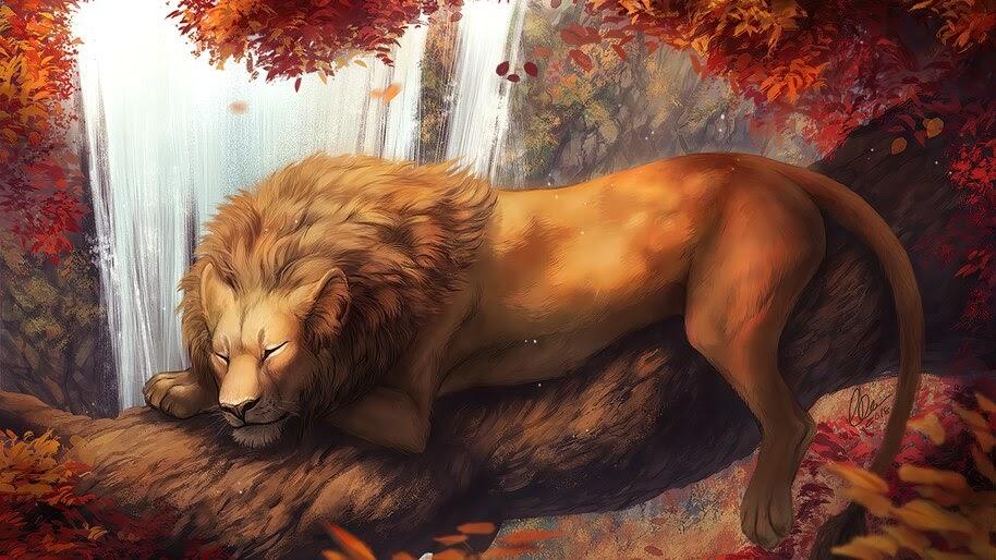 Lion, Sleeping, Art, 4K, #6.453