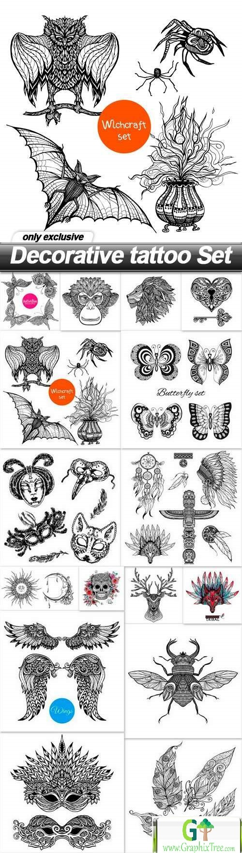 Decorative tattoo Set - 16 EPS