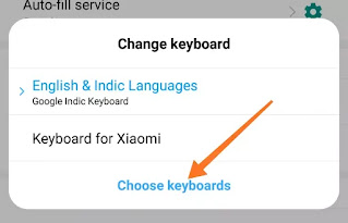CHOOSE KEYBOARD IN MOBILE