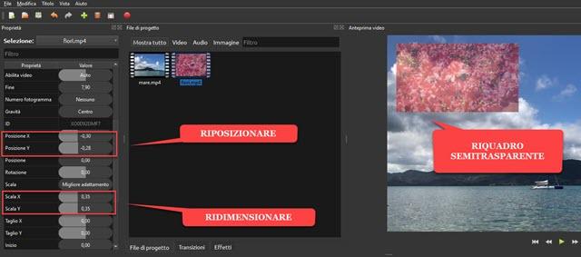 riposizionamento e ridimensionamento su Openshot