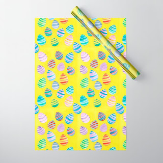 easter egg watercolor pattern wrapping paper