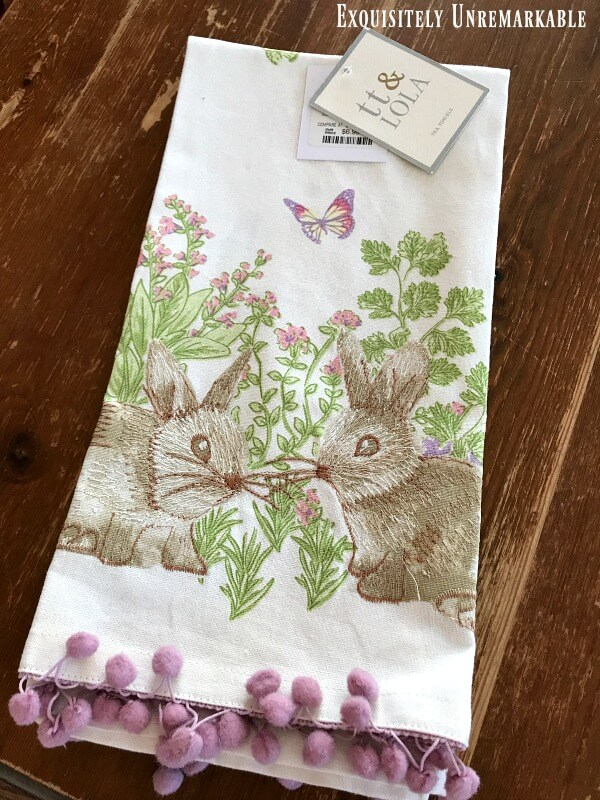 Embroidered Bunny Tea Towel With Ball Fringe