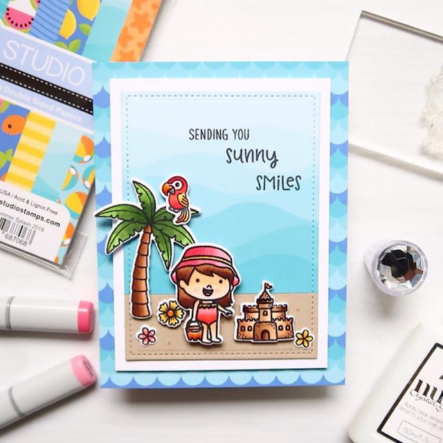 Sunny Studio Stamps: Coastal Cuties Sending Sunshine Customer Card by Laura Sterckx