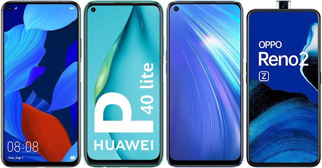 Huawei Nova 5T vs Huawei P40 Lite vs Realme 6 (8 GB RAM) vs Oppo Reno 2Z