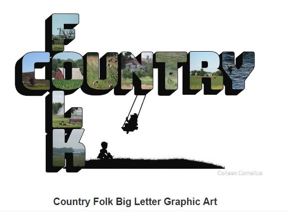 Country Folk Big Letter Graphic Art