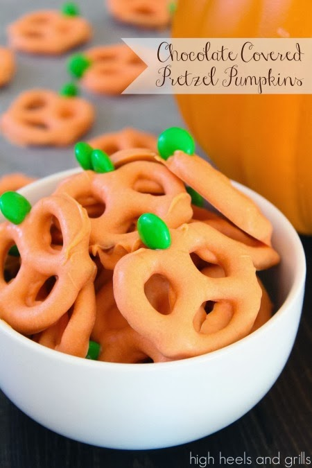 Chocolate Covered Pretzel Pumpkins