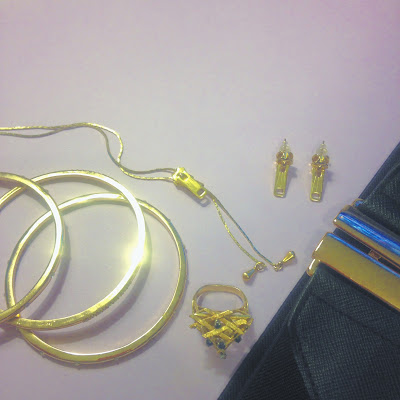 Gold Costume Jewelry including Zipper Earrings and Necklace