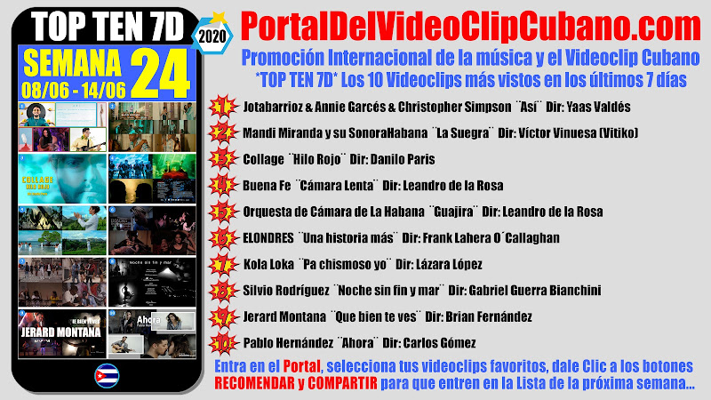 Artistas ganadores del * TOP TEN 7D * con los 10 Videoclips más vistos en la semana 24 (08/06 a 14/06 de 2020) en el Portal Del Vídeo Clip Cubano