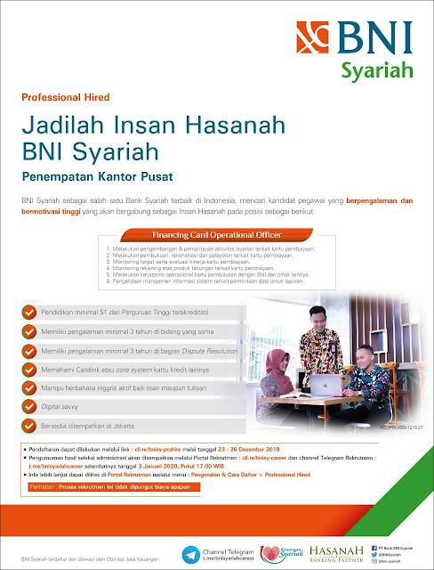 Lowongan Kerja BNI Syariah - Financing Card Operasional Officer
