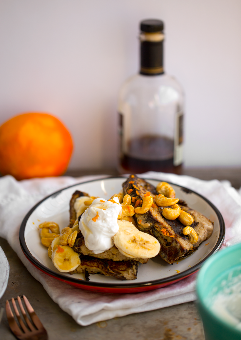 cashew banana bread french toast with whip