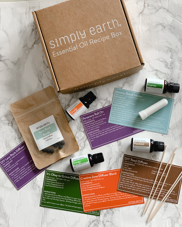 simply earth essential oil recipe box
