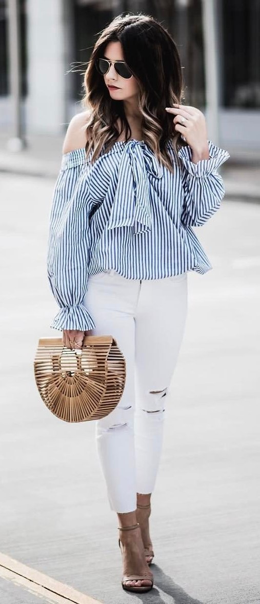 cute outfit idea: shirt + rips + bag