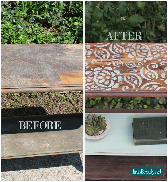 BEFORE AND AFTER roadside rescue side table stencilled makeover boho removing damaged veneer repair staining painting