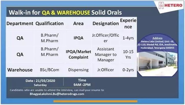 Hetero Labs Limited Job opening for QA and warehouse