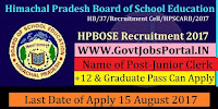Himachal Pradesh Board of School Education Recruitment 2017– 70 Junior Clerk