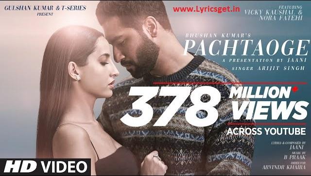 Pachtaoge lyrics in Hindi