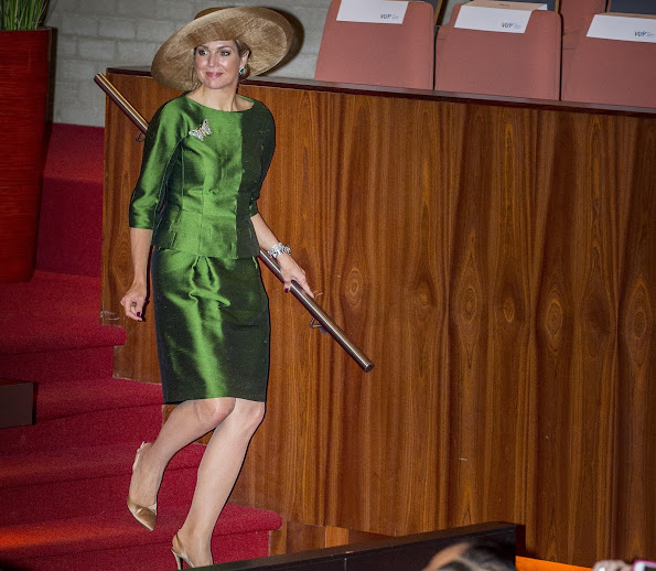 Dutch Queen Maxima attend opening 24th WPATH Symposium in Amsterdam. Queen wore Natan dress, Natan pumps, Natan Clutch