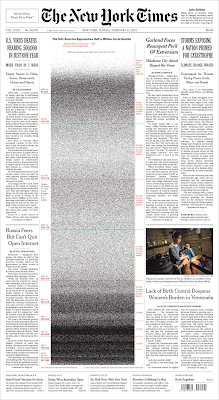 Front page of New York Times for 21 February 2021, showing half a million deaths from COVID-19 in the US.