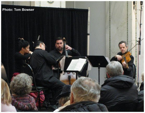 The Chicago Chamber Musicians Ensemble perform the Brahms String Quartet in B Flat Major Op. 67 at the Chamber Monday Series concert in the Chicago Cultural Center | photo by Tom Bowser