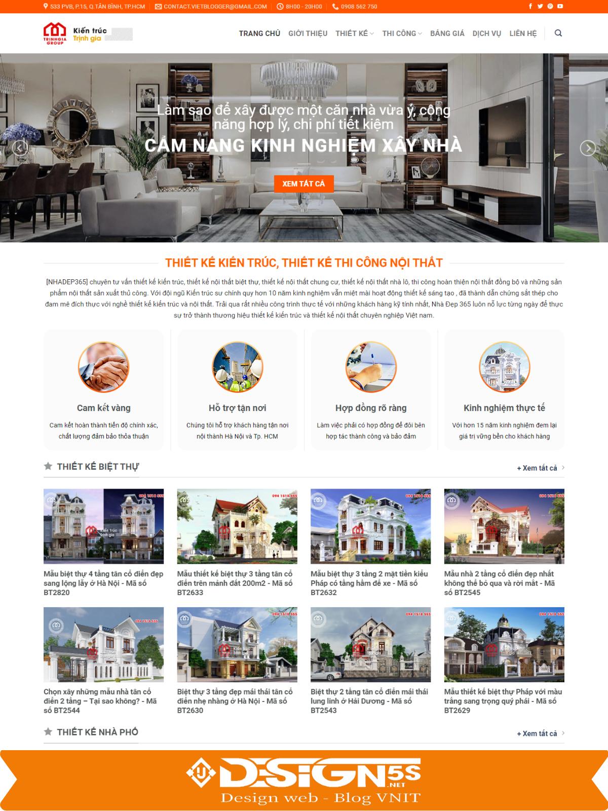 Mẫu giao diện Website kiến trúc nội thất đẹp chuẩn seo